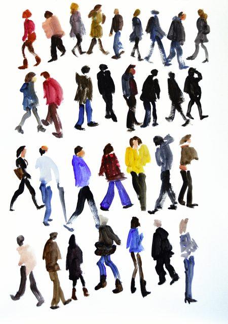 Transeúntes 3. Acrílico sobre papel.  40,5 x 29,5 cm. 2014