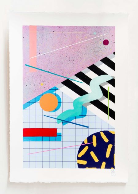 Carrer 6.  Acrylic on handmade paper. 70 x 50 cm. 2017